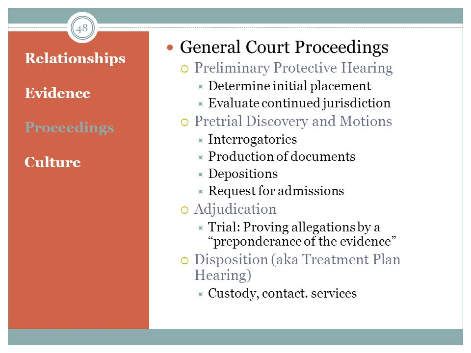 Relationships Evidence Proceedings Culture