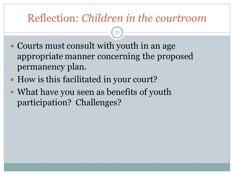 Reflection: Children in the courtroom
