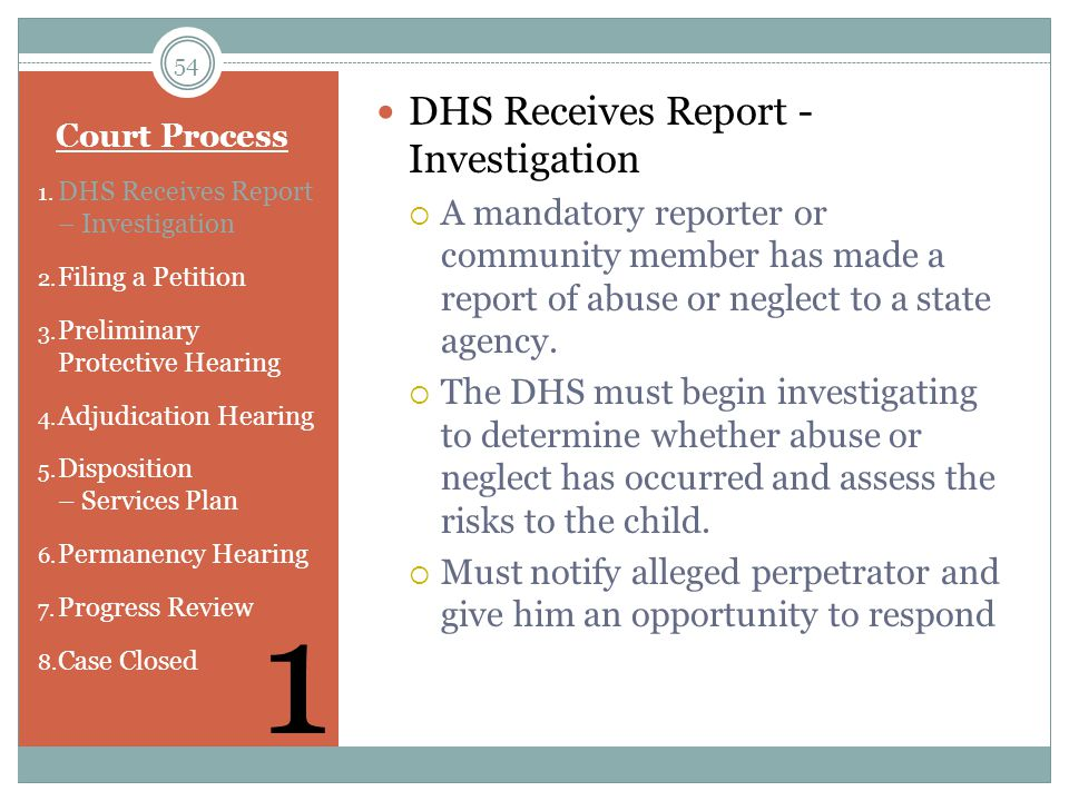 1 DHS Receives Report - Investigation