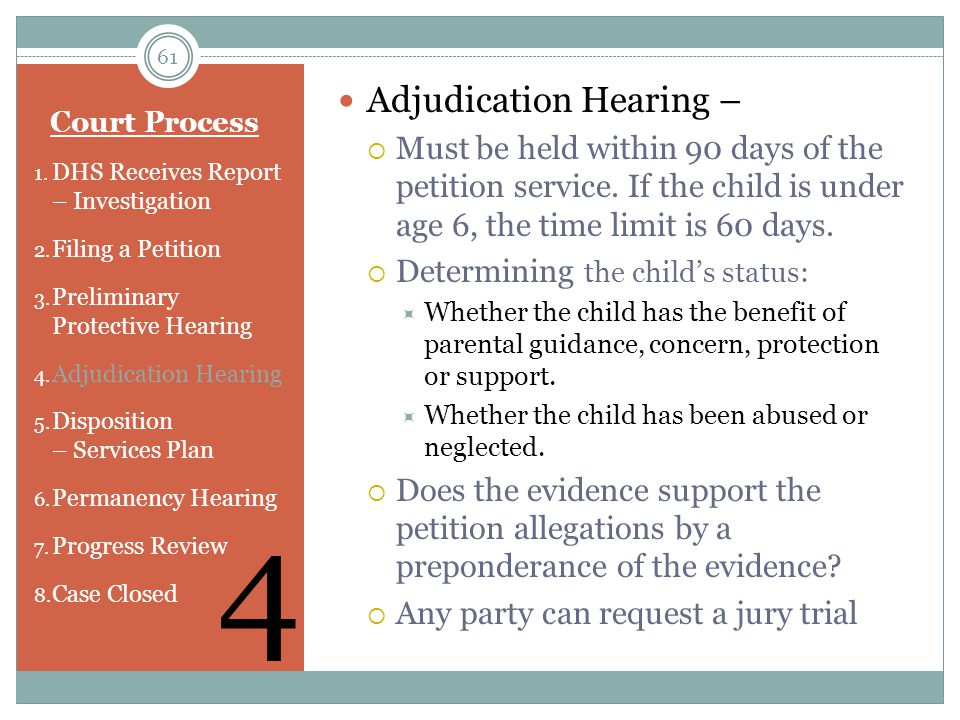4 Adjudication Hearing –