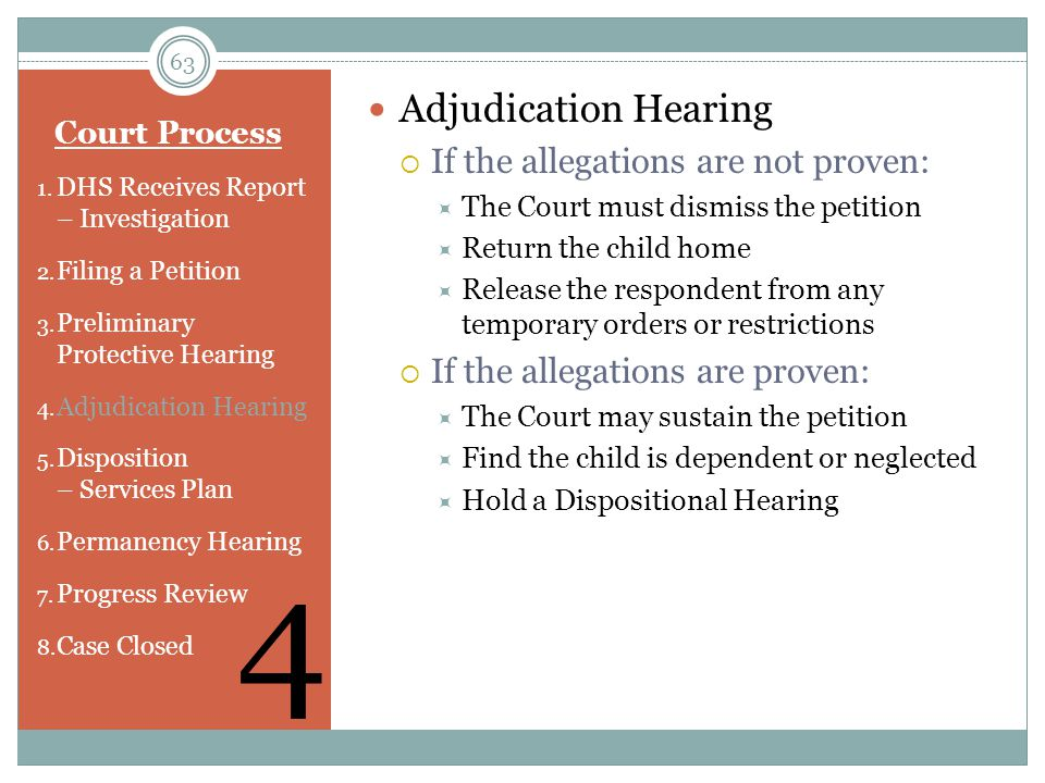 4 Adjudication Hearing If the allegations are not proven: