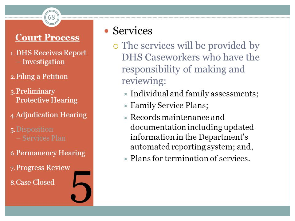 Services The services will be provided by DHS Caseworkers who have the responsibility of making and reviewing:
