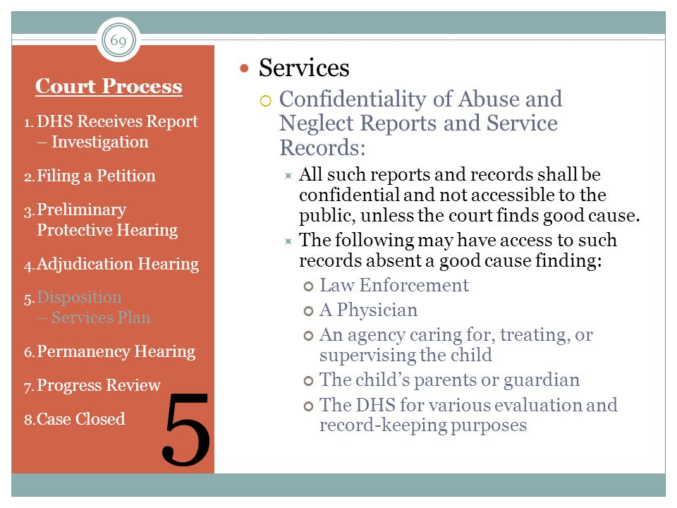 Services Confidentiality of Abuse and Neglect Reports and Service Records: