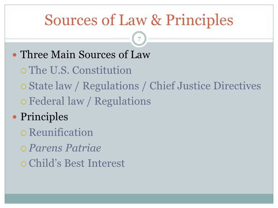 Sources of Law & Principles