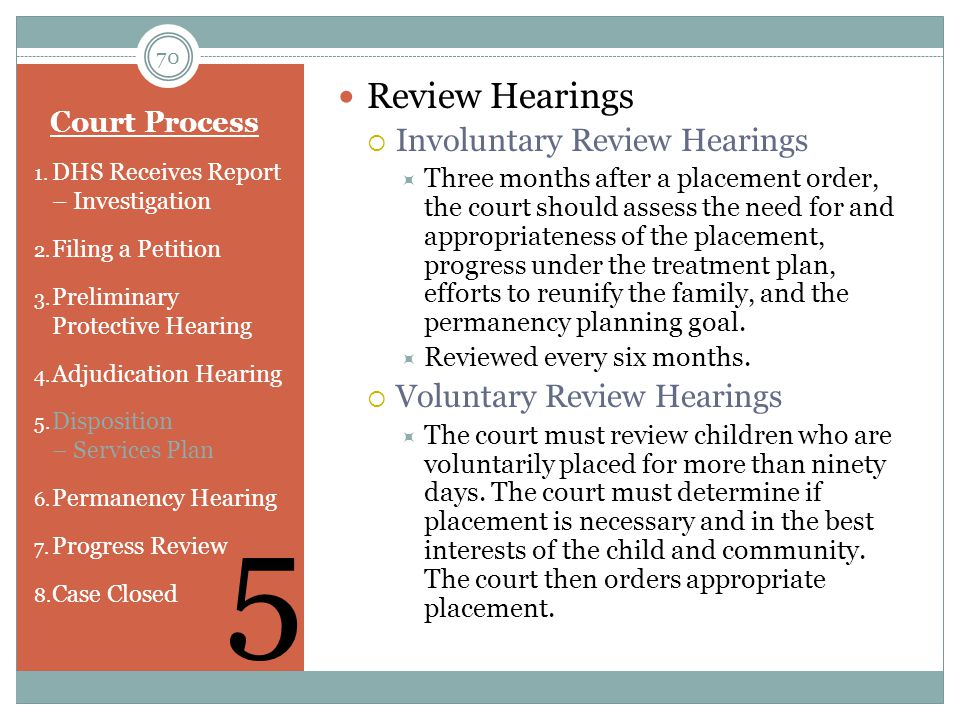 5 Review Hearings Involuntary Review Hearings