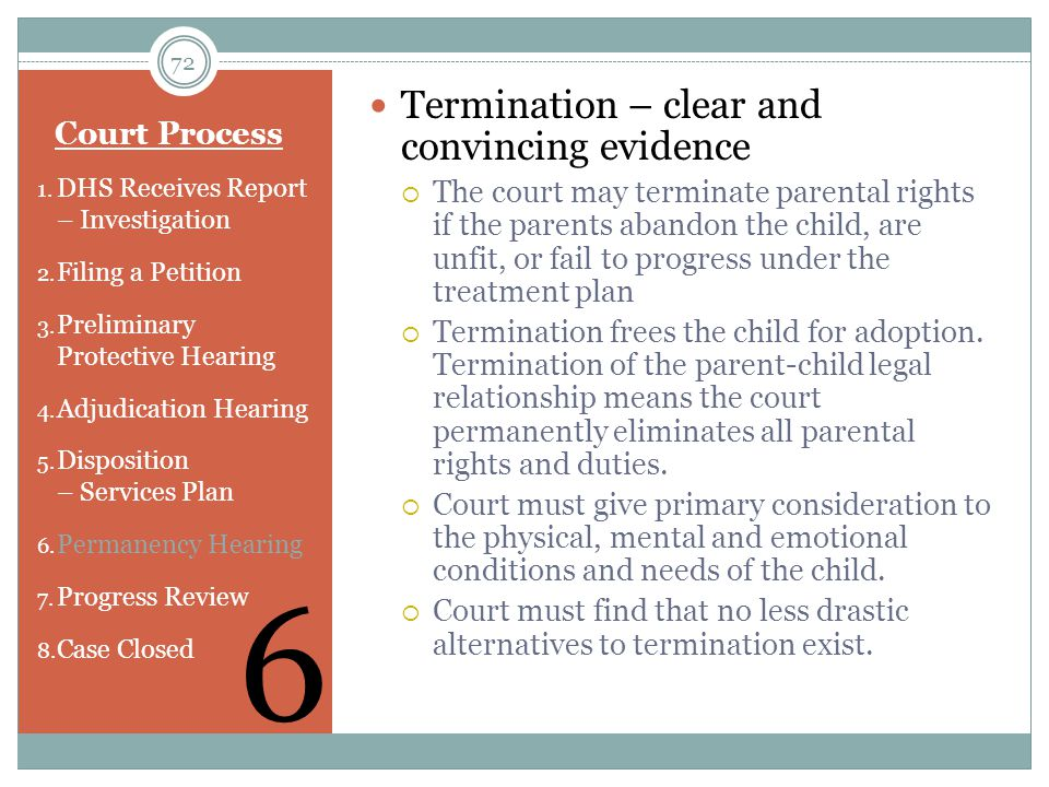 6 Termination – clear and convincing evidence Court Process