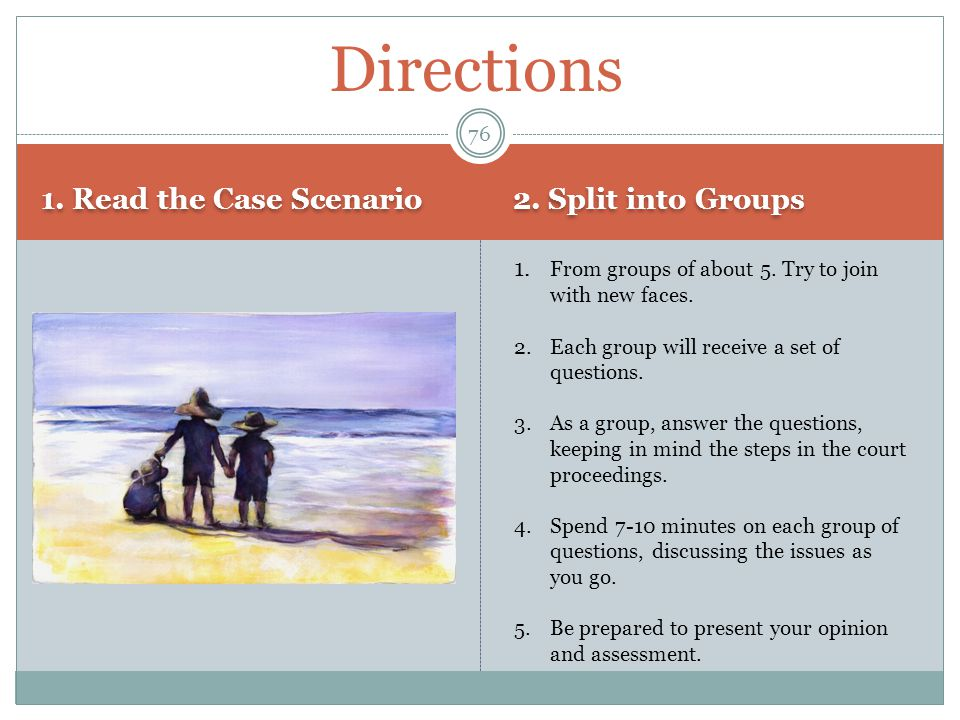Directions 1. Read the Case Scenario 2. Split into Groups