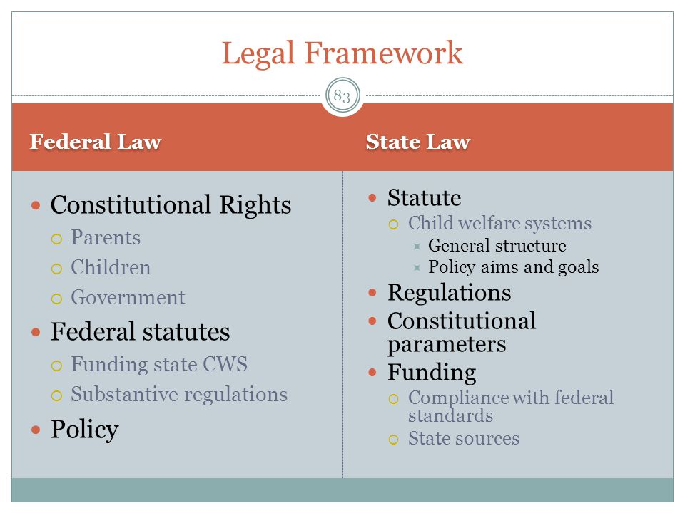 Legal Framework Constitutional Rights Federal statutes Policy Statute