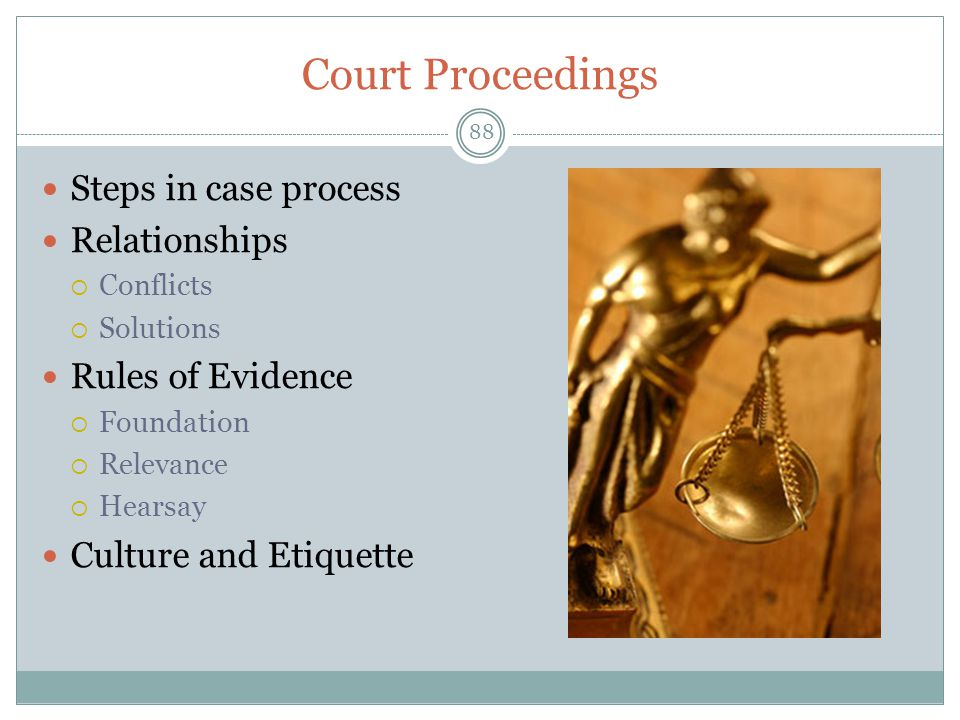 Court Proceedings Steps in case process Relationships