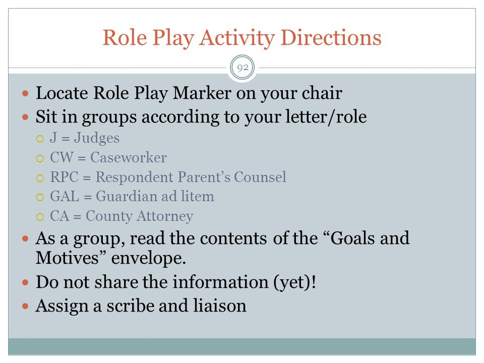 Role Play Activity Directions
