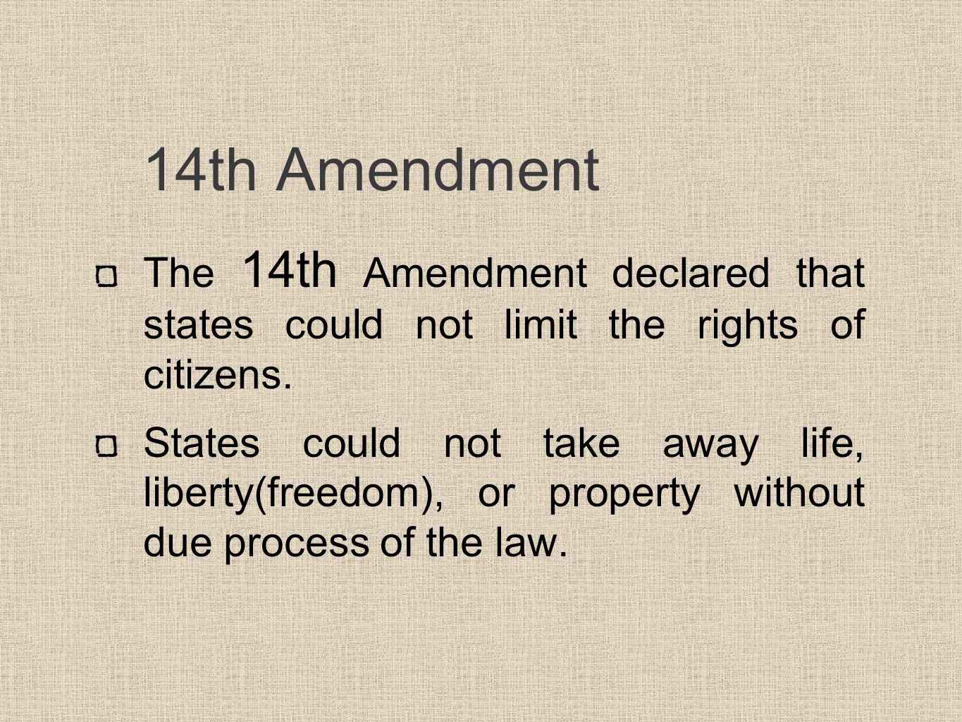 14 amendment Find out more about the history of 14th amendment, including videos, interesting  articles, pictures, historical features and more get all the facts on.