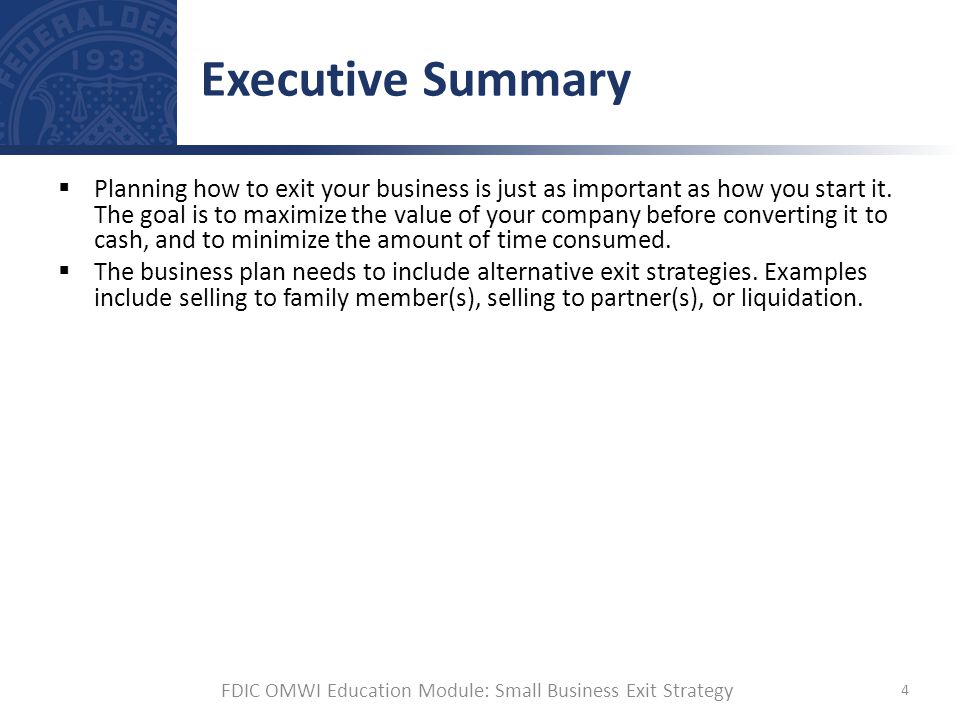 Small business exit strategy ppt download fdic omwi education module small business exit strategy accmission Image collections