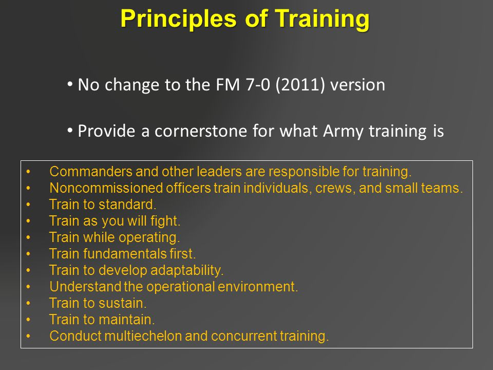 principles from work out army