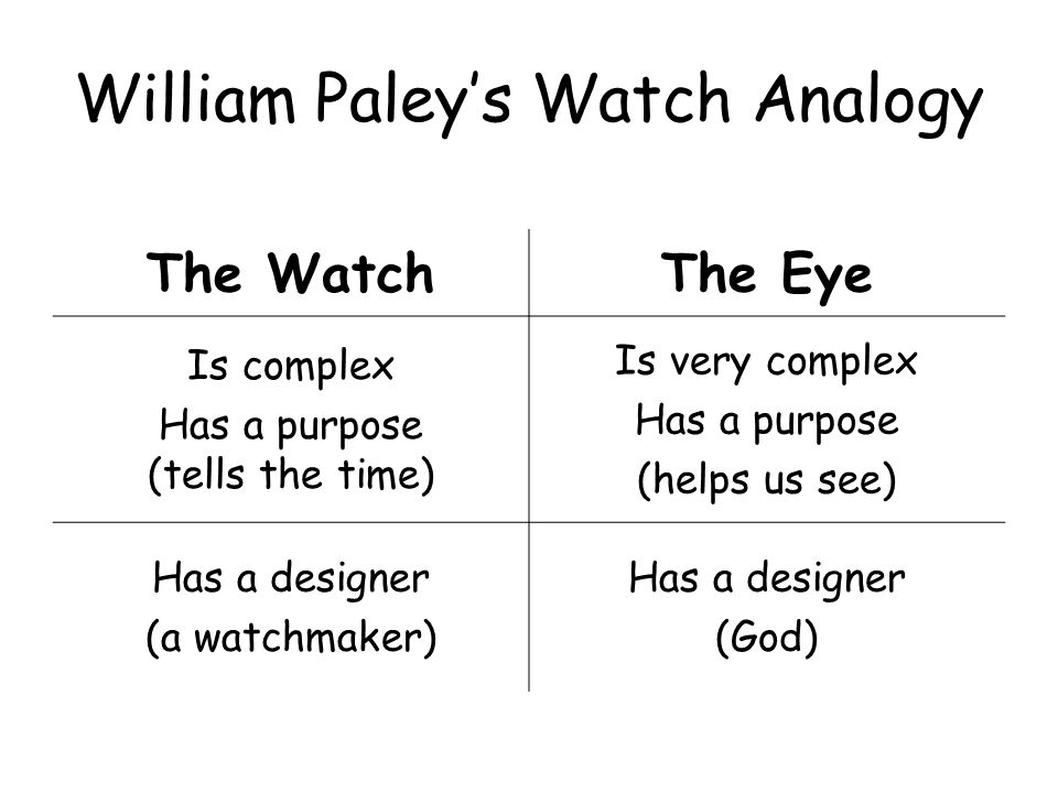 an analogy of the world and the universe in william paleys the watch and the watchmaker 2018-6-12  william paley (1743-1805)  the natural world  just as only an intelligent watchmaker can make a watch.