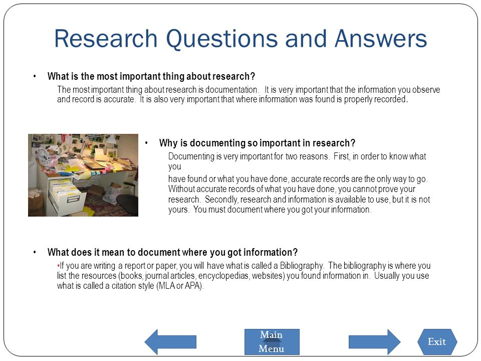 research paper question and aanswer The answer to your research question will be a complete statement expressed as a sentence – your thesis if you used a rhetorical mode to formulate your question, you should use that mode to organize the paragraphs of your paper (though you may certainly use other modes as you develop your ideas).