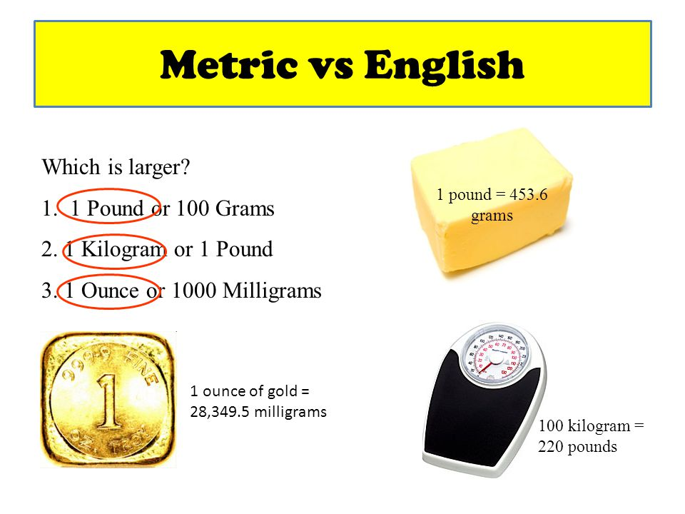 Metric vs English Which is larger 1. 1 Pound or 100 Grams