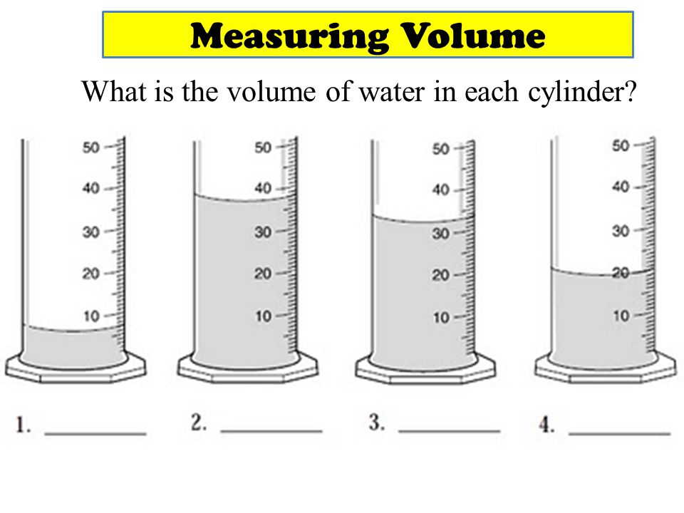 What is the volume of water in each cylinder