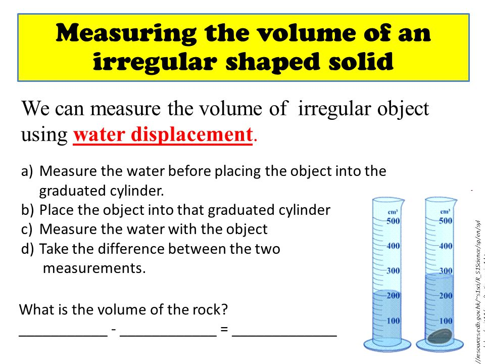 Measuring the volume of an irregular shaped solid