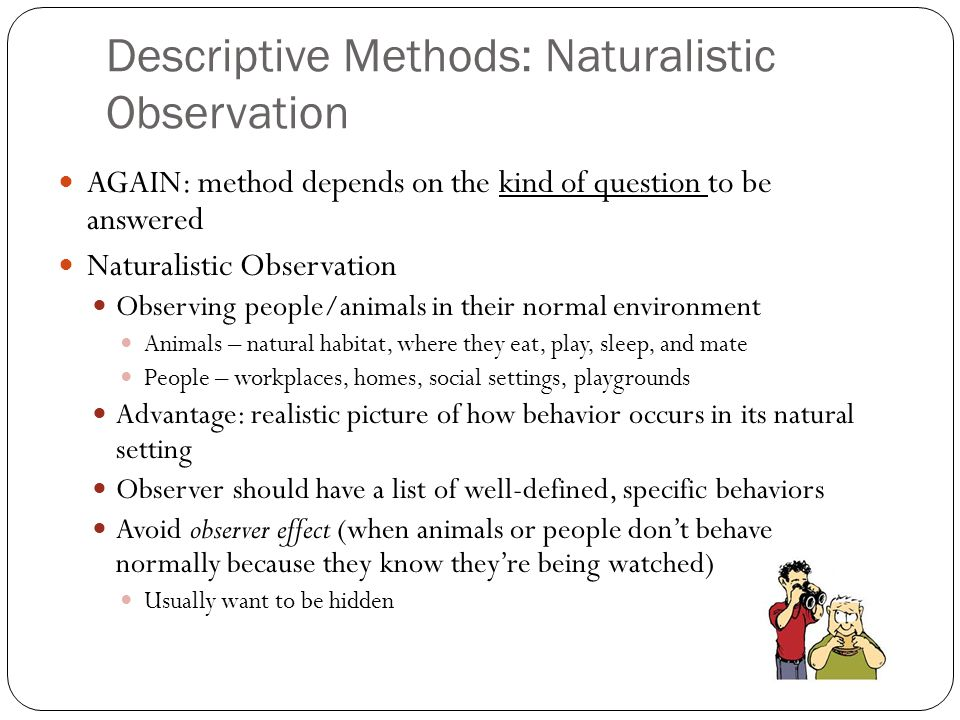 what is naturalistic observation A naturalistic observation method, it provides an observer's account of daily life  and  observation in the natural environment, is not well represented in fact.