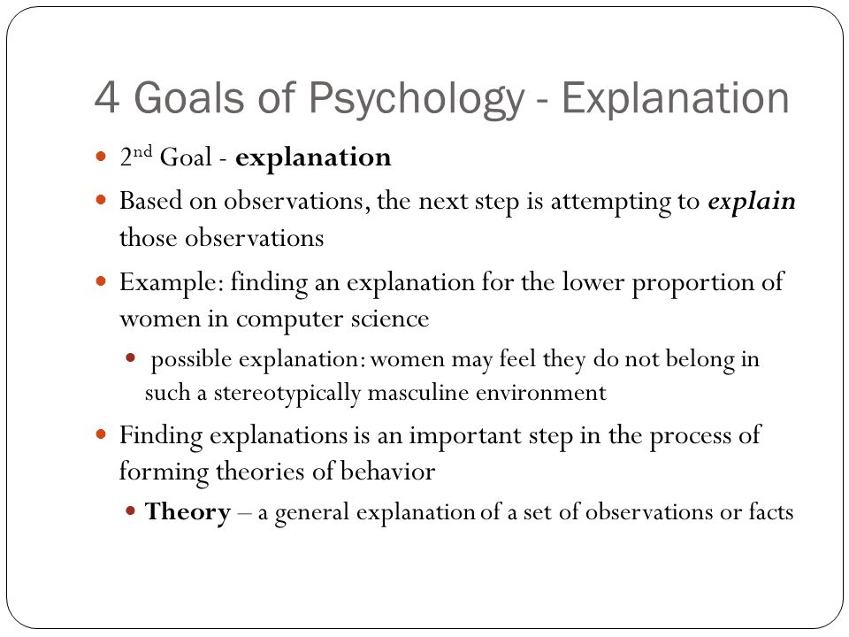 four goals of psychology essay The psychology of arrogance fortnite and that fantasy or wish needs to be converted into a goal or a set of goals that are part four volunteering at.