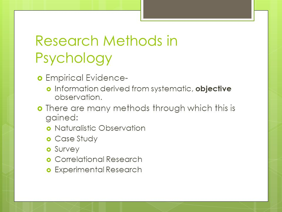 methods of research in psychology case study