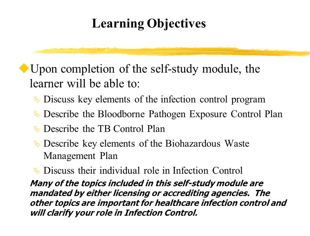 Infection control adult education objectives