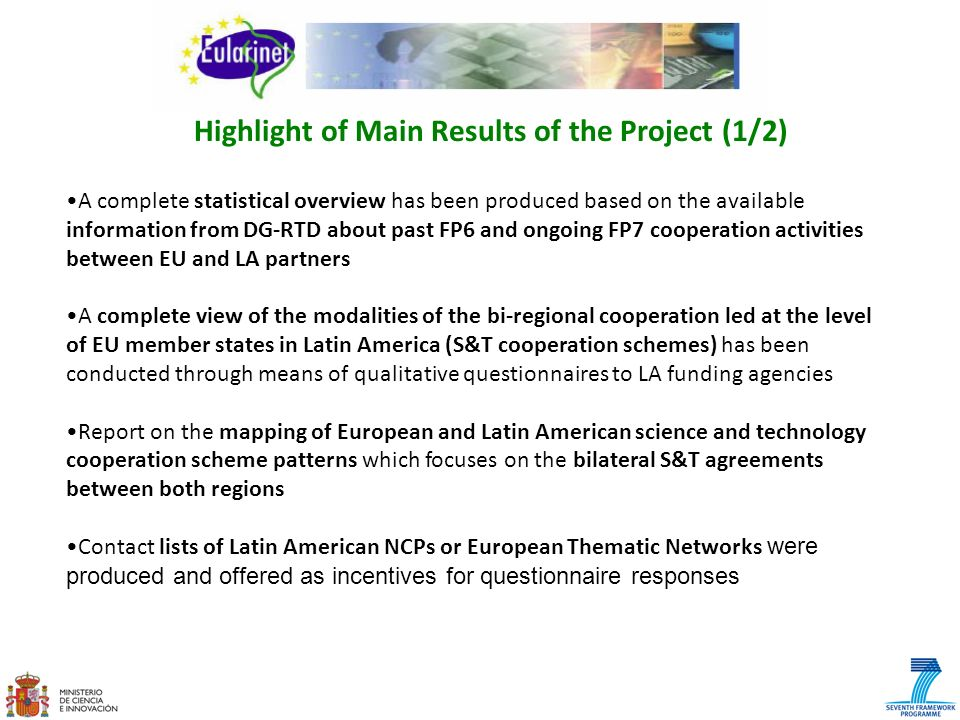 Highlight of Main Results of the Project (1/2)