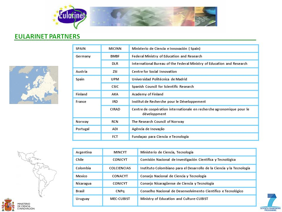 EULARINET PARTNERS SPAIN MICINN