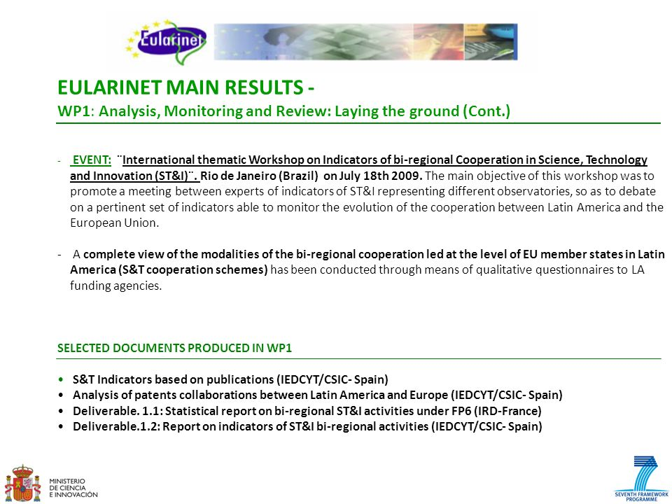 EULARINET MAIN RESULTS -
