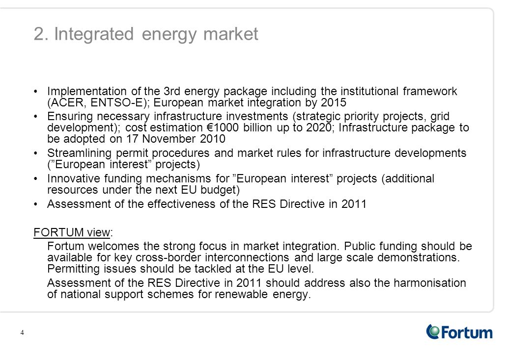2. Integrated energy market
