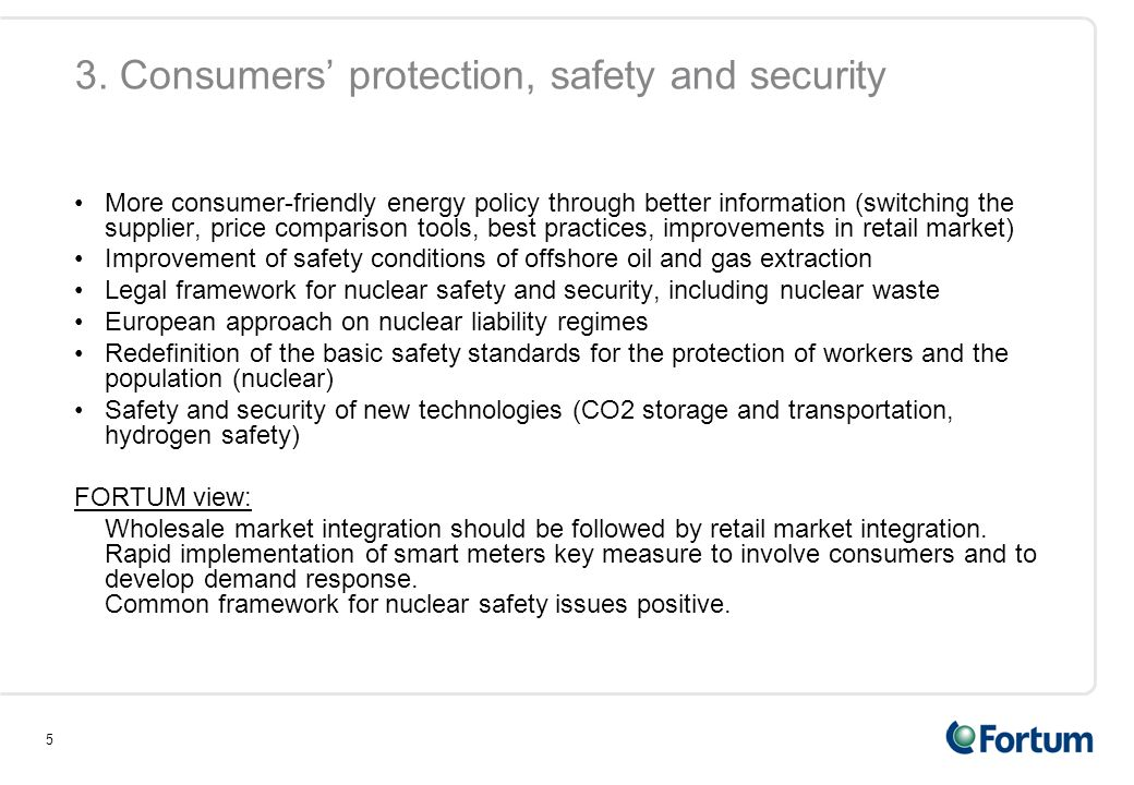 3. Consumers' protection, safety and security