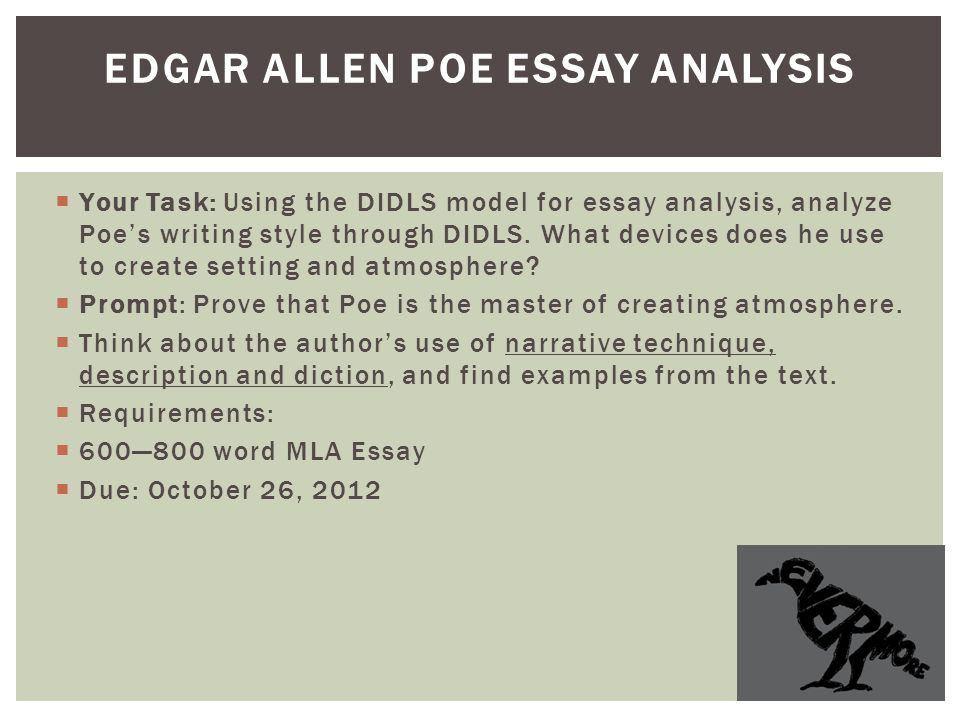 "short essay poe The use of the arabesque in edgar allen poe's short stories ""ligeia ""and ""the   publish your bachelor's or master's thesis, dissertation, term paper or essay."