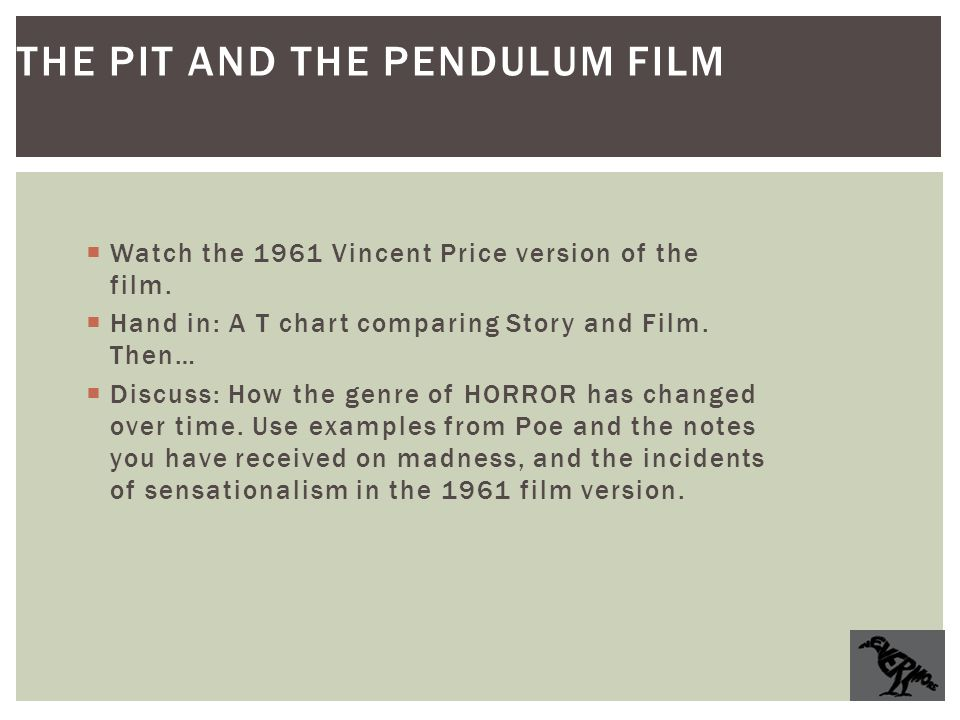 """pit and the pendulum essay Pit and the pendulum by poe essay sample in poe's story the """"the pit and the pendulum"""" he distinctively uses symbolism, repetition, mood and diction to tell a tale of hope over circumstance to make this story come to life for the reader."""