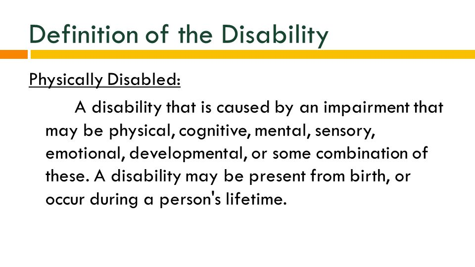 physical incapability examples