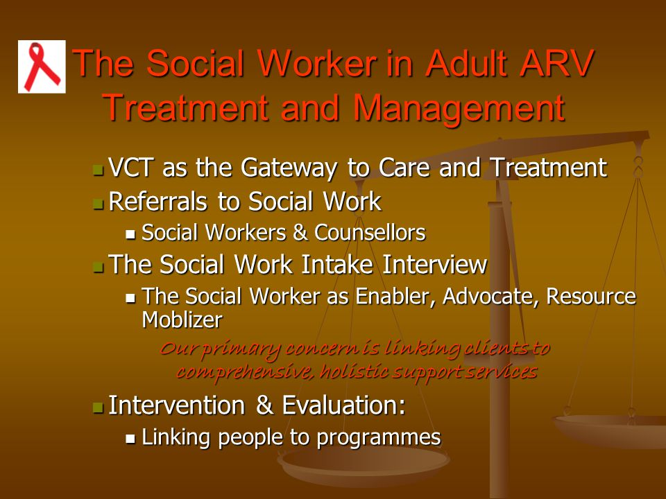 The Social Worker in Adult ARV Treatment and Management
