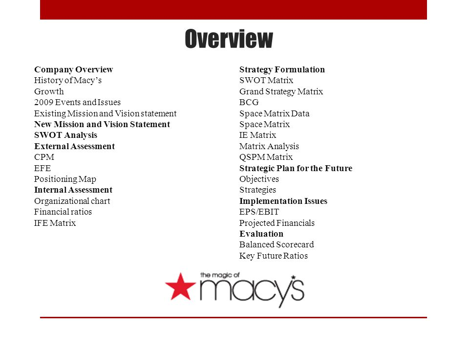 financial analysis of macy's inc and Macy's, inc financial and strategic analysis reviewsummary macy's, inc (macy's), formerly known as federated department stores, inc, is engaged in operating department stores selling apparels and related products.