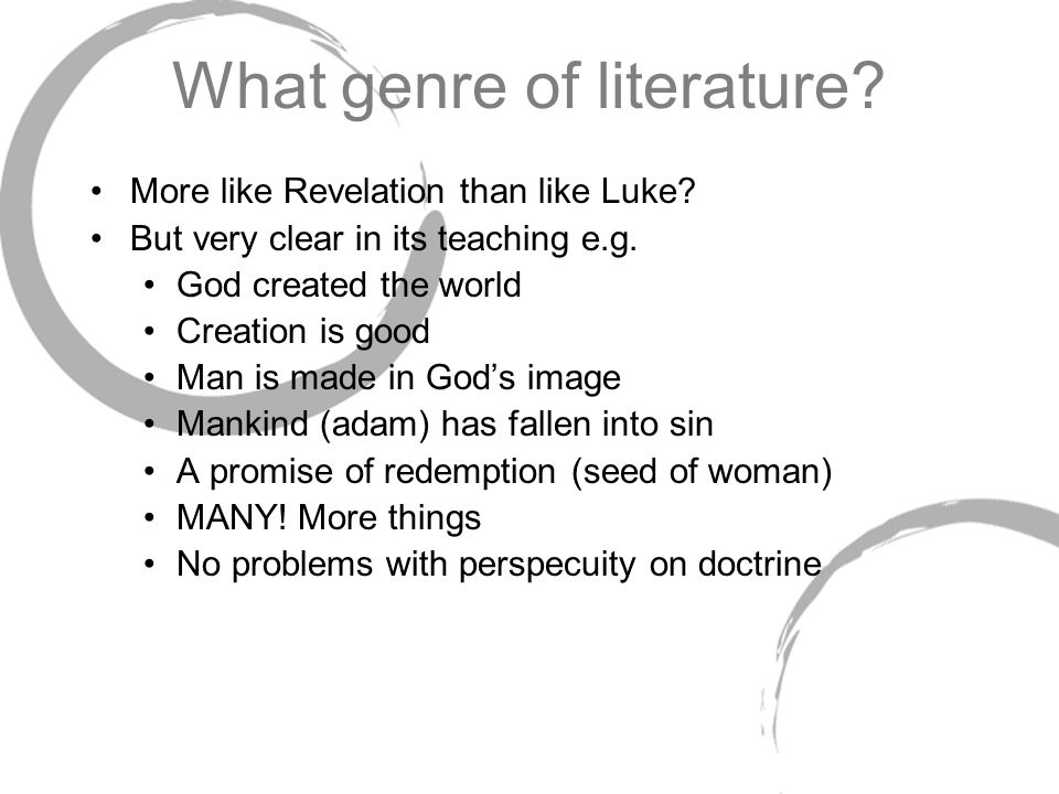 genre analysis problems in genesis The first five books of the bible are structured in a way that provides a contextual framework to help us understand what the authors were trying to.