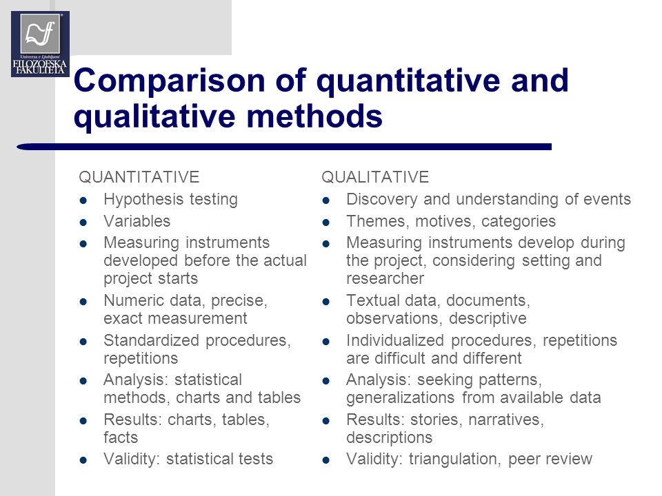 comparing qualitative and quantitative research 10/12/12 qualitative versus quantitative research  criteria qualitative research quantitative research purpose to understand & interpret social interactions to test hypotheses, look at cause & effect.