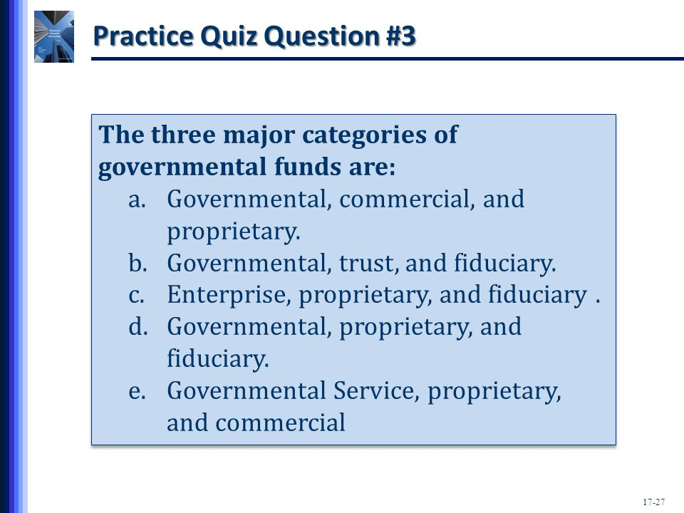 the three main types of government funds are governmental business type and fiduciary funds As management of the charter township of bloomfield,  statements consist of three main components: 1) government-wide  (business type activities) fiduciary funds.