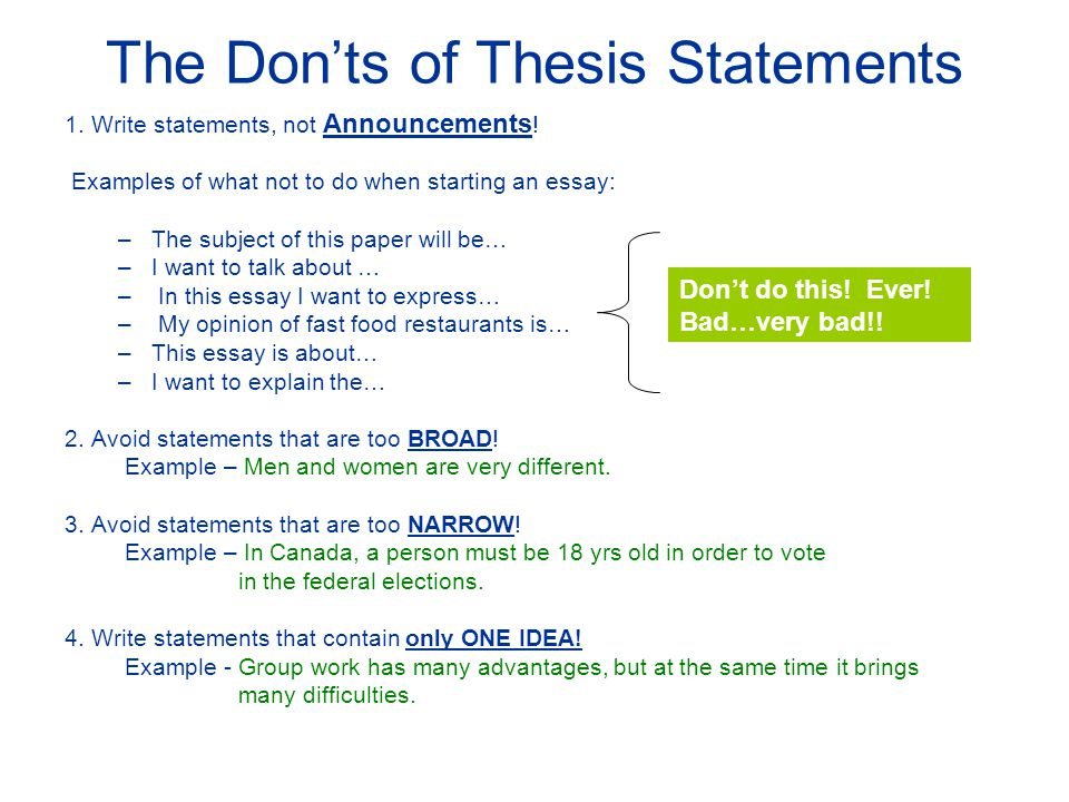 Writing A Good Thesis Statement  Ppt Video Online Download The Donts Of Thesis Statements