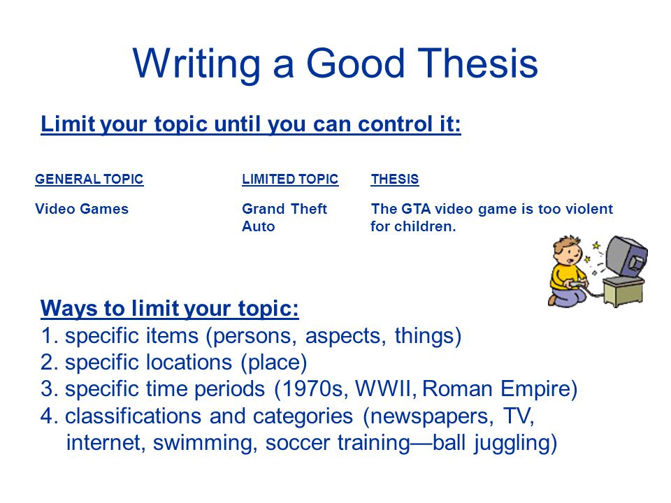 good thesis for video games Violent video games are good for you playing games that depict cruelty or bloodshed can be therapeutic posted nov 17, 2010.