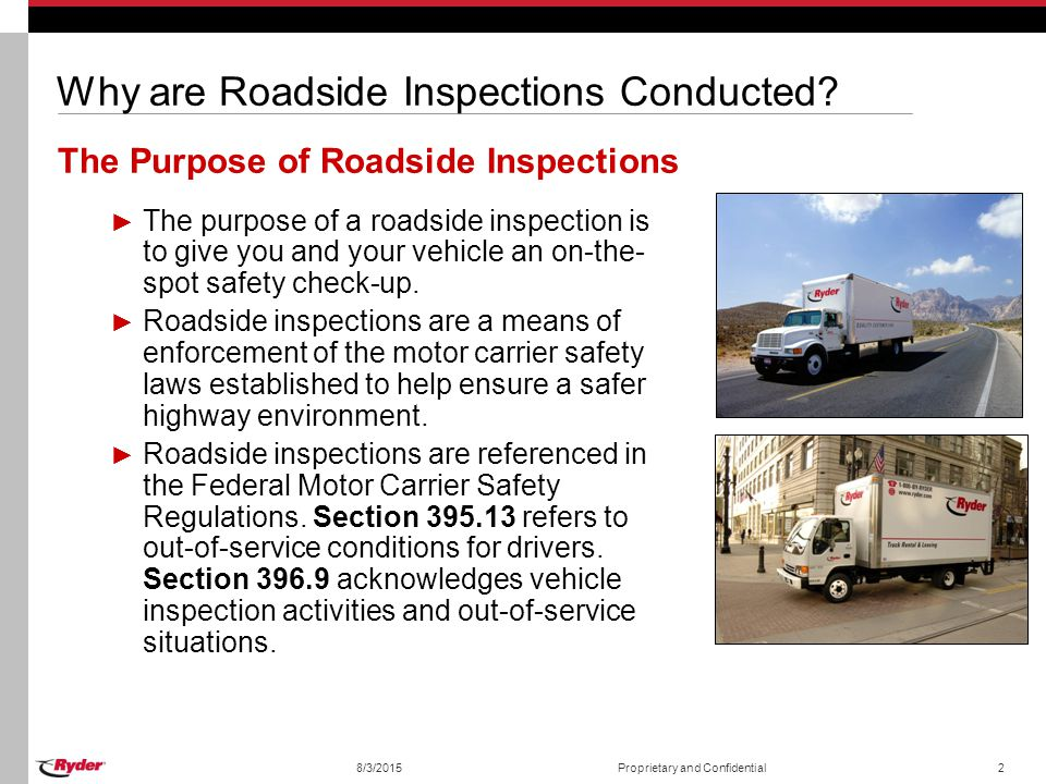 Roadside inspections 2010 ryder system inc ppt for What is the federal motor carrier safety regulations