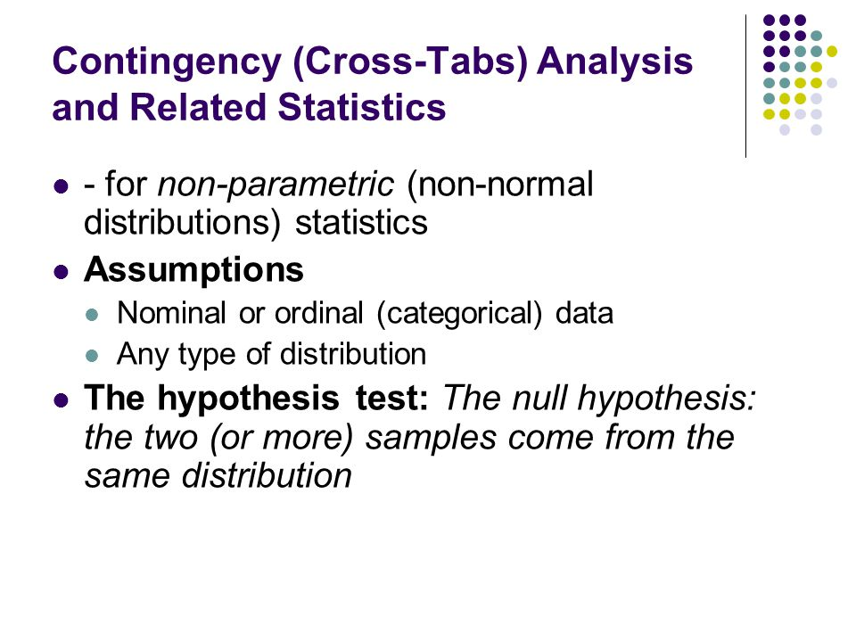 Contingency (Cross-Tabs) Analysis and Related Statistics