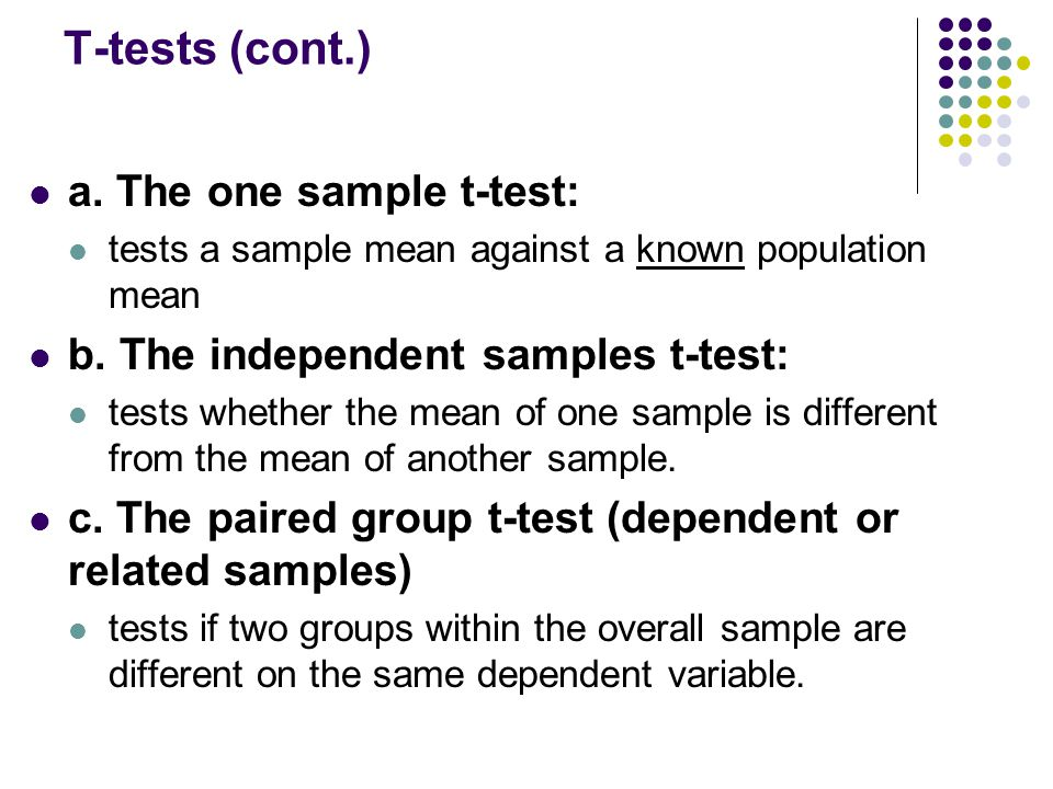 T-tests (cont.) a. The one sample t-test: