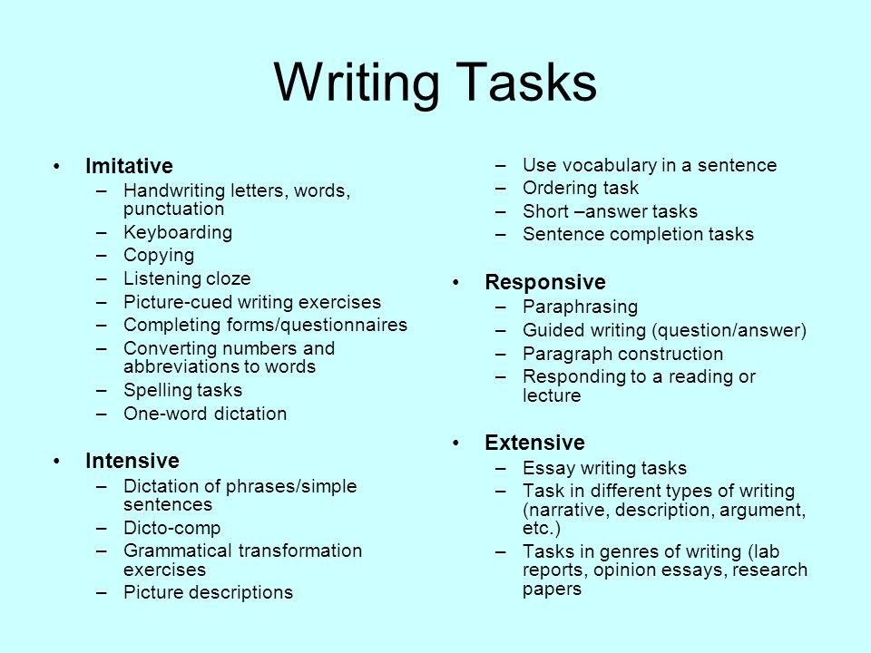 essay task Each issue topic consists of an issue statement or statements followed by specific task instructions that tell you how to respond to the issue the wording of some topics in the test might vary slightly from what is presented here.