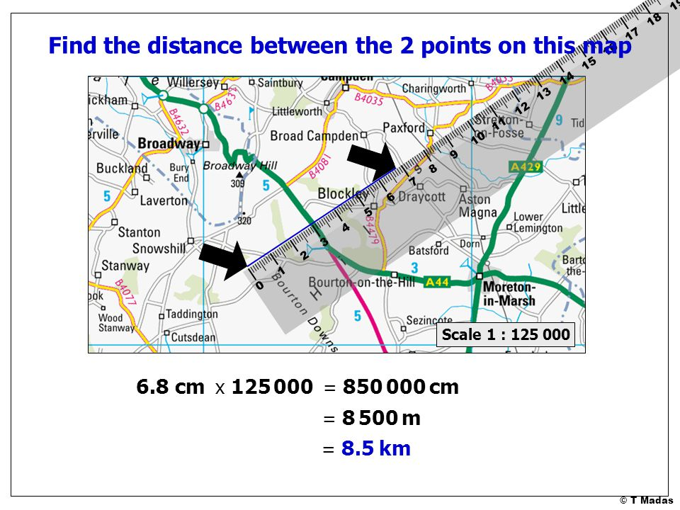 Find distance between points on map