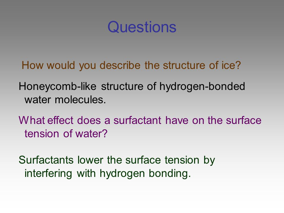 does soap affect the surface tension does soap affect the surface tension of water background: surface tension refers to water's ability to stick to itself surface tensioncan be measured and observed by dropping water (drop by drop) onto a penny.