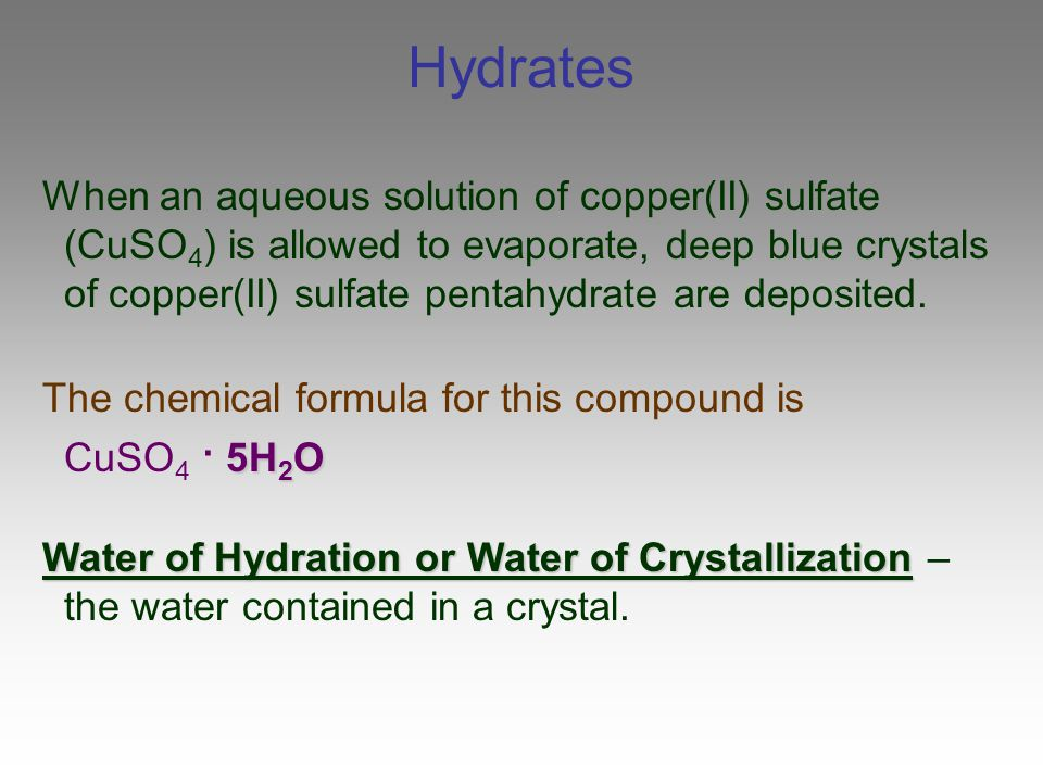 Examples List on Hydrated Copper Sulfate Formula