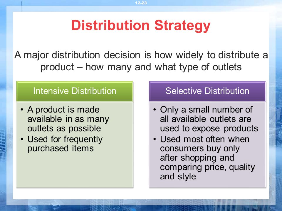 pricing strategy and distribution Market strategies this  a market analysis also enables the entrepreneur to establish pricing, distribution,  though pricing strategy and computations can be.