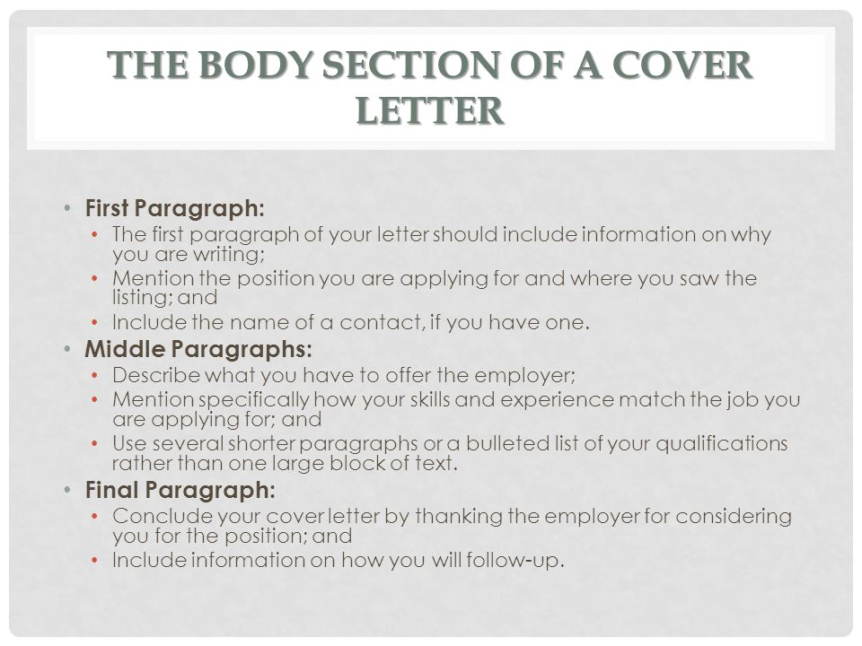 Body of a cover letter